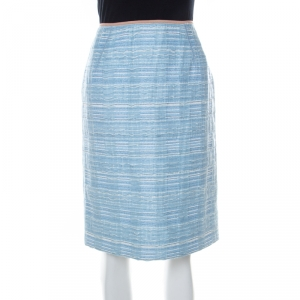 Louis Vuitton Blue Lurex Insert Tweed Pencil Skirt S