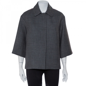Louis Vuitton Grey Jacquard & Wool Oversized Collared Jacket S