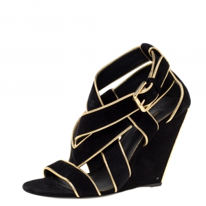 Louis Vuitton Black Suede And Gold Leather Trim Strappy Wedge Sandals Size 38.5 -