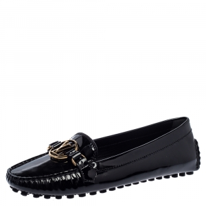 Louis Vuitton Black Patent Leather Dauphine Loafers Size 38