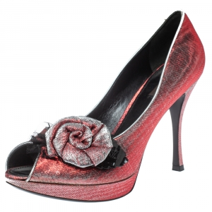 Louis Vuitton Ombre Red/Silver Shimmery Fabric Floral Embellished Peep Toe Pumps 40.5