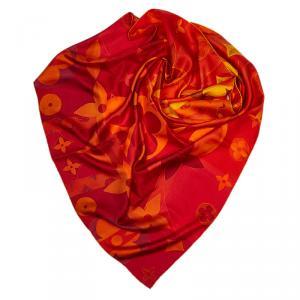 Louis Vuitton Red/Yellow Monogram Silk Square Scarf