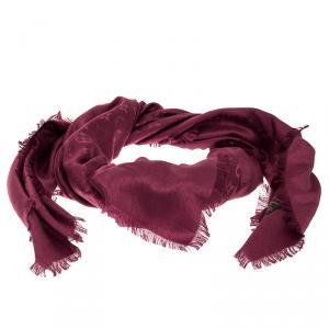 Louis Vuitton Berry Pink Monogram Silk and Wool Shawl