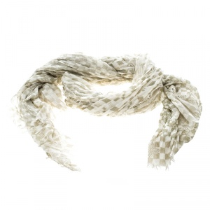 Louis Vuitton Cream and Green Fringed Damier Azur Scarf