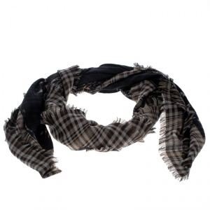 Louis Vuitton Checkered Travel Articles Pattern Fleece Wool and Silk Oversized Shawl