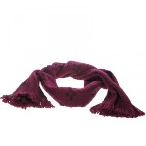 Louis Vuitton Purple Chunky Knit Wool and Silk Logomania Muffler