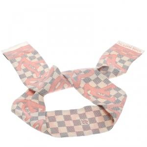 Louis Vuitton Damier Azur Tahitienne Rose Printed Silk Bandeau Scarf