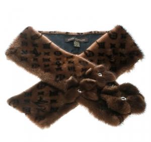 Louis Vuitton Brown Monogram Mink Fur Floral Applique Muffler