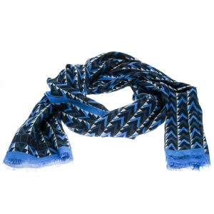 Louis Vuitton Blue V Obsession Pattern Cotton and Linen Stole