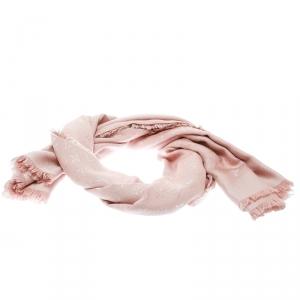 Louis Vuitton Pink Monogram Wool and Silk Fringed Detail Shawl