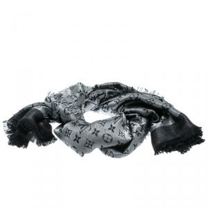 Louis Vuitton Black Fringed Edge Monogram Shine Shawl