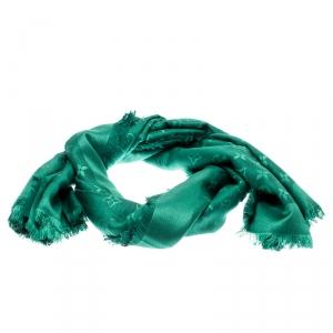 Louis Vuitton Green Fringed Edge Monogram Shine Shawl