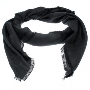 Louis Vuitton Black Silk Monogram Fringed Edge Scarf