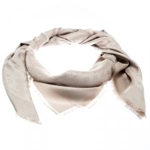 Louis Vuitton Beige Silk Monogram Fringed Edge Scarf