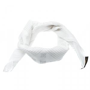 Louis Vuitton Off White Monogram Foil Printed Cotton Square Scarf