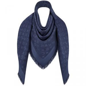 Louis Vuitton Night Blue Monogram Wool and Silk Shawl
