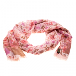 Louis Vuitton Pink Printed Cashmere and Silk Shawl