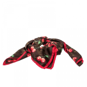 Louis Vuitton Multicolor Murakami Silk Cherry Print Scarf