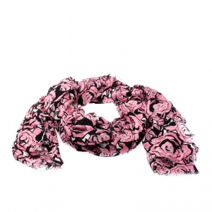Louis Vuitton Pink Floral Print Silk Blend Rock N' Roses Scarf