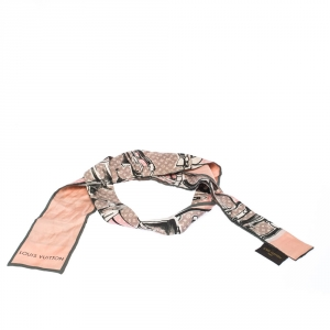 Louis Vuitton Rose Poudre Monogram and Trunk Print Silk Twill Bandeau Scarf