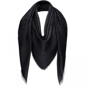 Louis Vuitton Black Monogram Silk and Wool Shawl