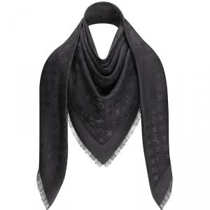 Louis Vuitton Charcoal Grey Monogram Silk and Wool Shawl