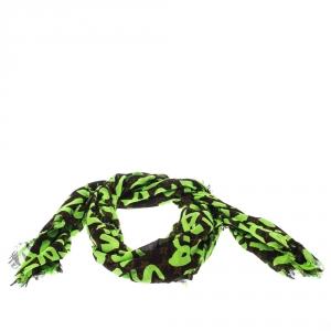 Louis Vuitton Neon Green & Brown Monogram & Graffiti Print Cotton Frayed Edge Scarf