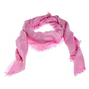Louis Vuitton Pink Monogram Silk and Wool Blend Shawl