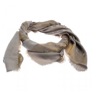 Louis Vuitton Beige Silk Wool Monogram Shine Shawl