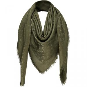 Louis Vuitton Khaki Monogram Wool and Silk Shawl