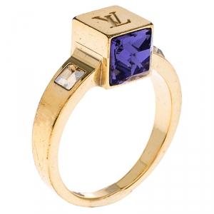 Louis Vuitton Gamble Crystal Gold Tone Ring 54
