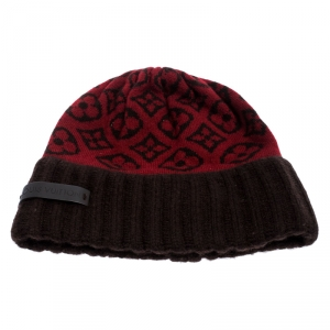 Louis Vuitton Red and Brown Monogram Cashmere Scarf and Beanie Set