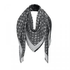 Louis Vuitton Black Monogram Wool and Silk Shawl