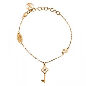 Louis Vuitton Gold Tone Lady Lucky Key Supple Bracelet