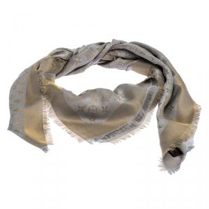Louis Vuitton Gold and Grey Monogram Shine Wool and Silk Fringe Edged Shawl