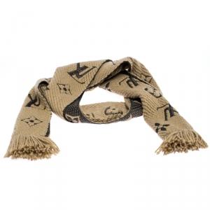 Louis Vuitton Bicolor Monogram Knit Fringed Wool Scarf
