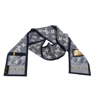 Louis Vuitton Indigo Monogram Print Silk Twilly Bandeau Scarf