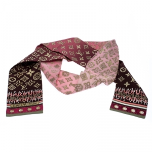 Louis Vuitton Pink Ombre Monogram Print Silk Twilly Bandeau Scarf