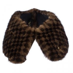 Louis Vuitton Brown Damier Mink Fur Collar