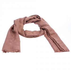 Louis Vuitton Dusty Pink Monogram Cashmere and Wool Scarf