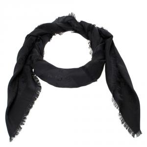 Louis Vuitton Black Monogram Silk & Wool Shawl