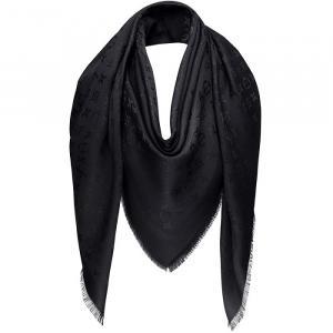 Louis Vuitton Black Monogram Silk and Wool Shawl