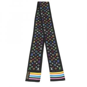 Louis Vuitton x Takashi Murakami Black Multicolor Monogram Silk Bandeau Scarf