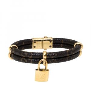 Louis Vuitton Keep It Twice Monogram Canvas Gold Tone Bracelet