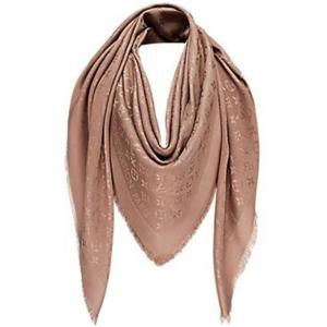 Louis Vuitton Cappuccino Monogram Wool and Silk Shawl