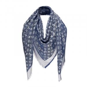 Louis Vuitton Blue Monogram Wool and Silk Shawl