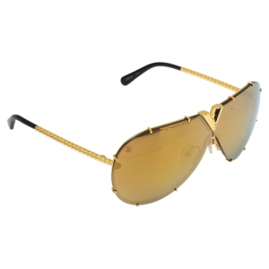 Louis Vuitton Gold Tone Nano Monogram/ Gold Mirrored Z0896W Drive Sunglasses