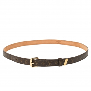 Louis Vuitton Brown Monogram Canvas Skinny Belt 90CM