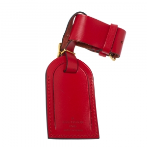 Louis Vuitton Red Leather Luggage Name Tag & Strap Holder