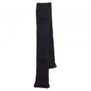 Louis Vuitton Black Logomania Wool & Silk Scarf